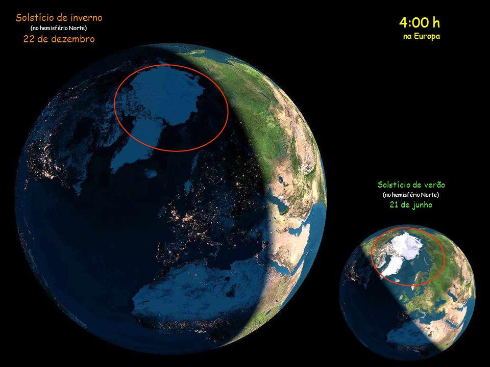 3:00 h na Europa Solstício de inverno (no hemisfério Norte) 22 de dezembro Solstício de verão (no hemisfério Norte) 21 de junho