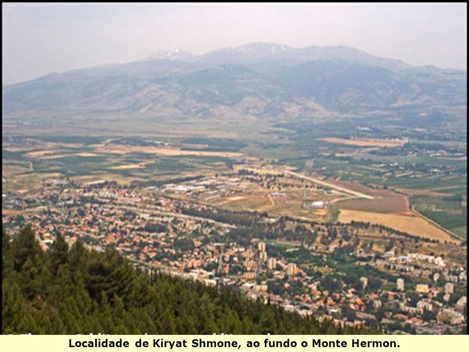 Localidade de Kiryat Shmone, ao fundo o Monte Hermon.