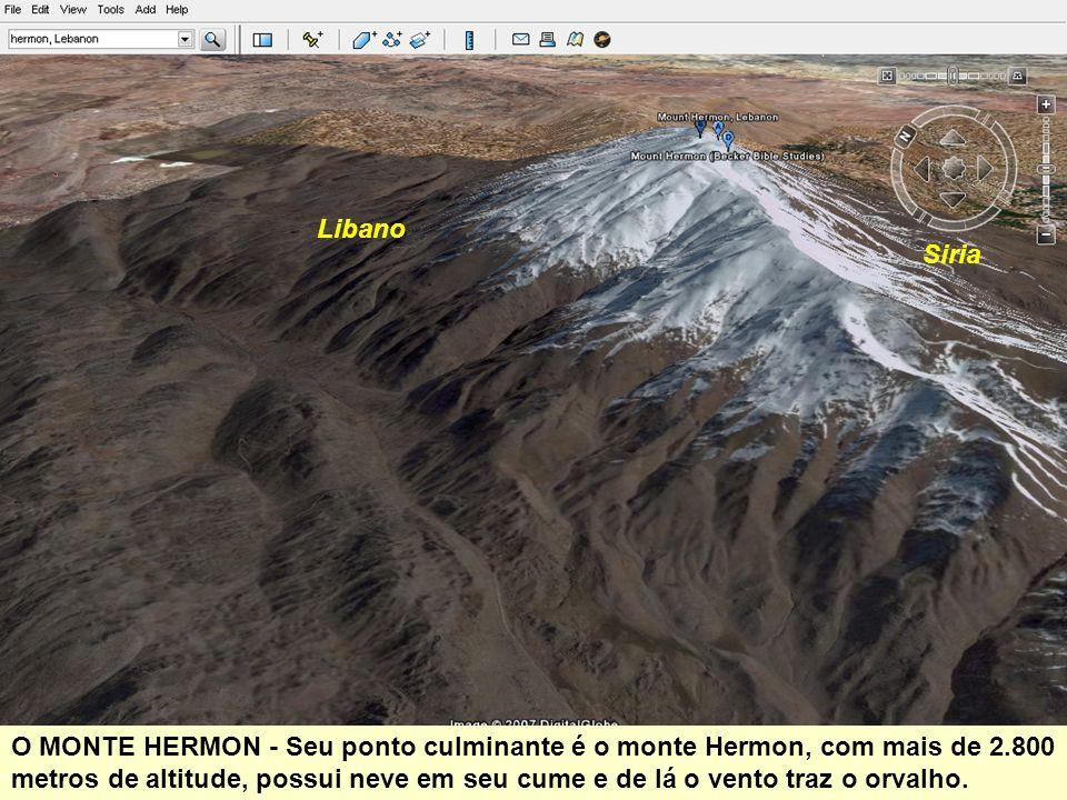 Libano Siria O MONTE HERMON - Seu ponto culminante é o monte Hermon, com mais de 2.800 metros de altitude, possui neve em seu cume e de lá o vento traz o orvalho.