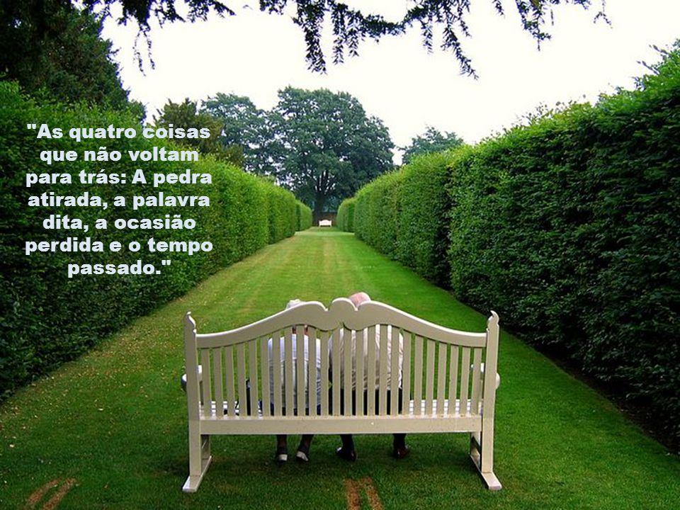 As quatro coisas que não voltam para trás: A pedra atirada, a palavra dita, a ocasião perdida e o tempo passado.