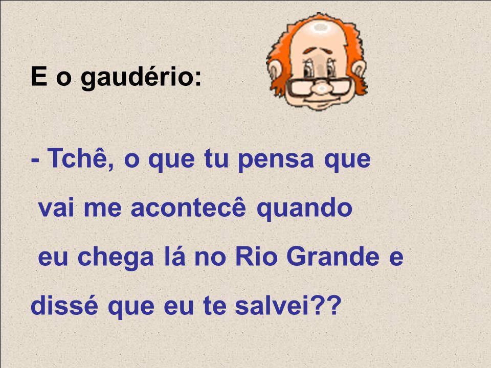 E o gaudério: - Tchê, o que tu pensa que vai me acontecê quando eu chega lá no Rio Grande e dissé que eu te salvei??