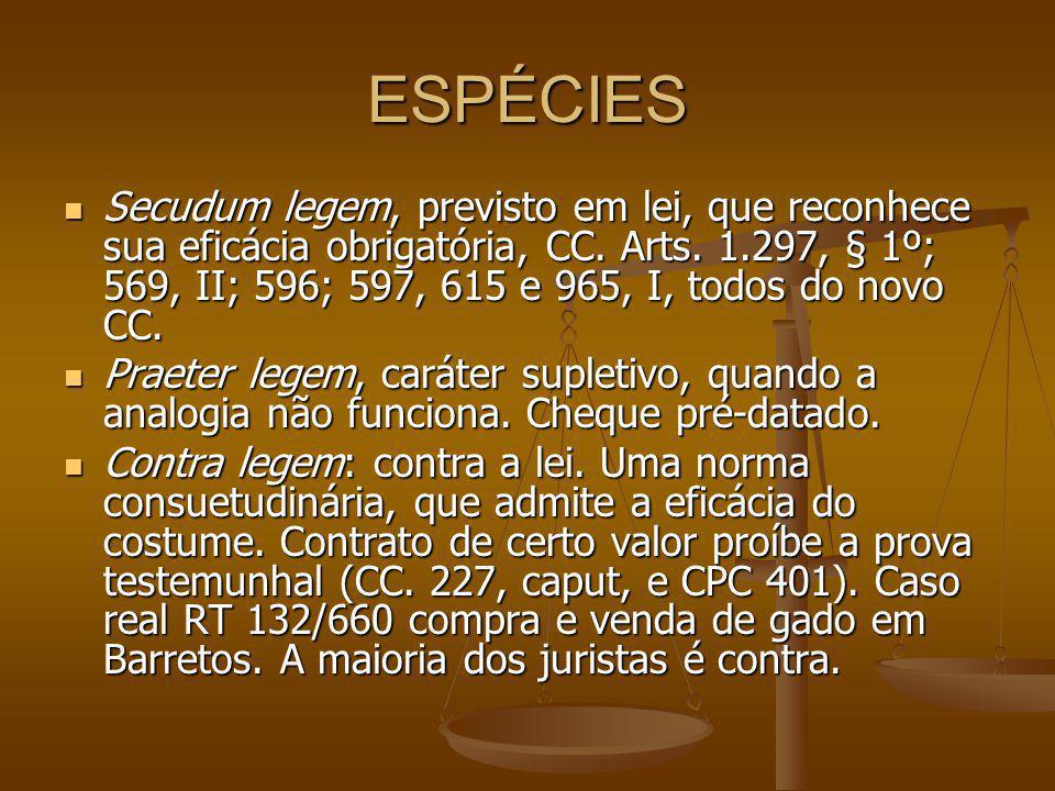 ESPÉCIES Secudum legem, previsto em lei, que reconhece sua eficácia obrigatória, CC.