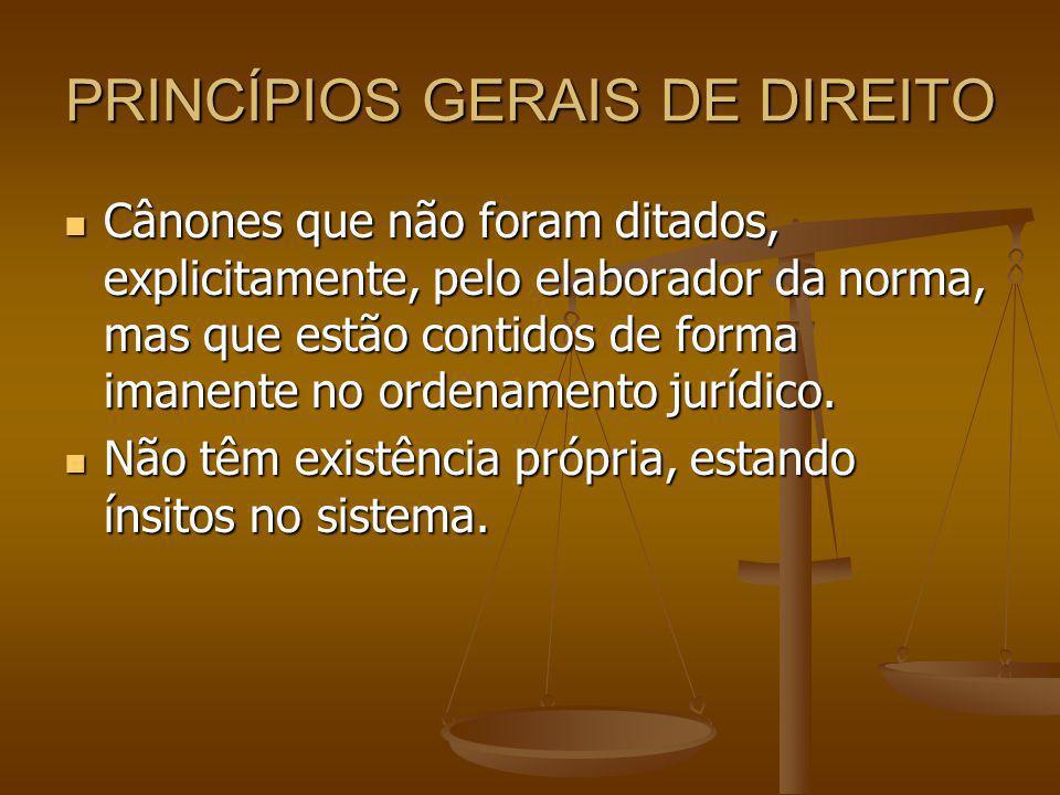 PRINCÍPIOS GERAIS DE DIREITO Cânones que não foram ditados, explicitamente, pelo elaborador da norma, mas que estão contidos de forma imanente no ordenamento jurídico.