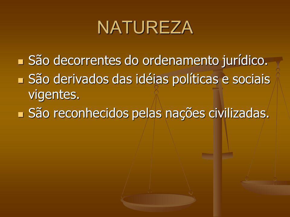 NATUREZA São decorrentes do ordenamento jurídico.São decorrentes do ordenamento jurídico.