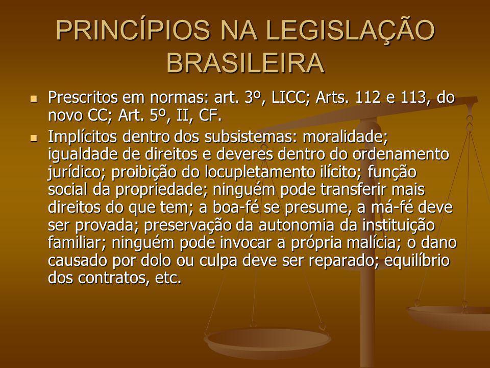 PRINCÍPIOS NA LEGISLAÇÃO BRASILEIRA Prescritos em normas: art.