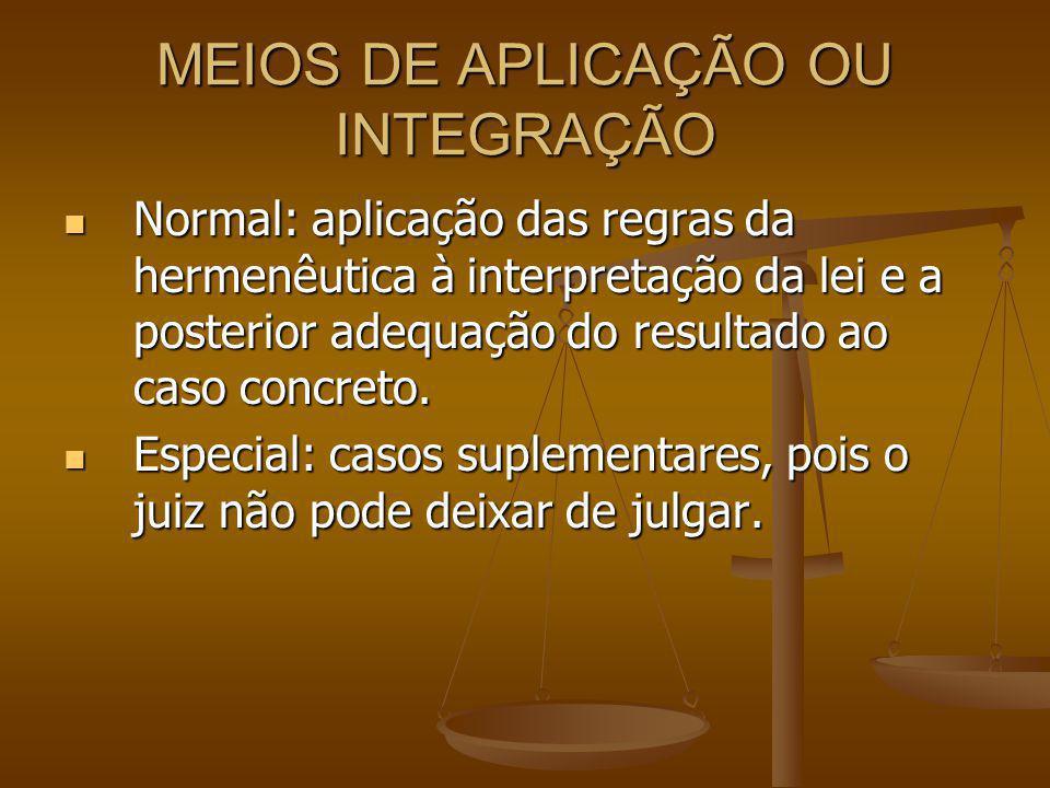 MEIOS DE APLICAÇÃO OU INTEGRAÇÃO Normal: aplicação das regras da hermenêutica à interpretação da lei e a posterior adequação do resultado ao caso concreto.