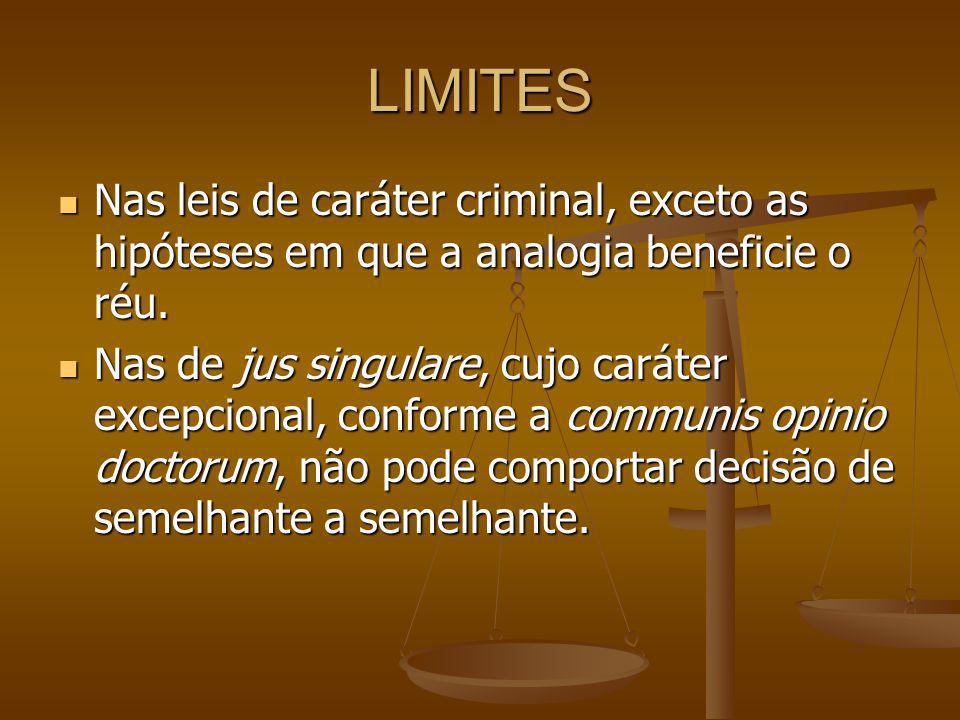 LIMITES Nas leis de caráter criminal, exceto as hipóteses em que a analogia beneficie o réu.
