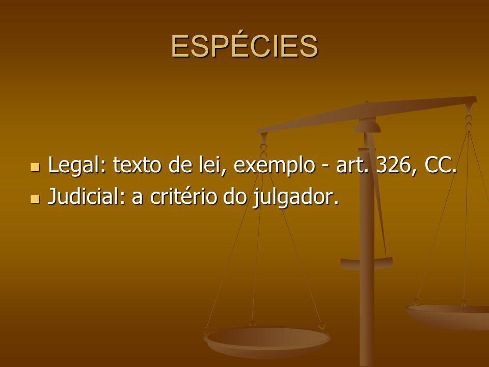 ESPÉCIES Legal: texto de lei, exemplo - art.326, CC.