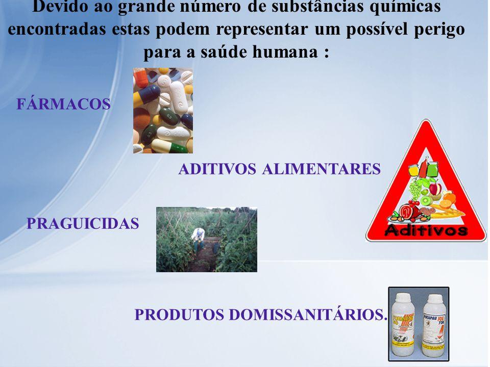 Devido ao grande número de substâncias químicas encontradas estas podem representar um possível perigo para a saúde humana : FÁRMACOS ADITIVOS ALIMENT