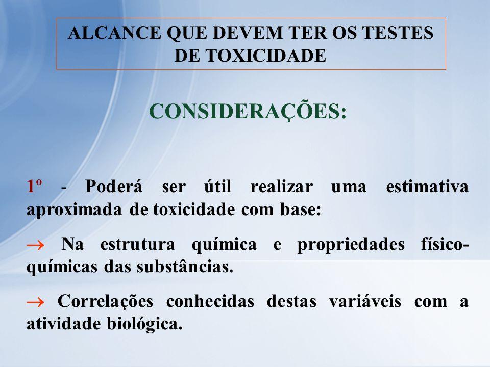 ALCANCE QUE DEVEM TER OS TESTES DE TOXICIDADE CONSIDERAÇÕES: 1º - Poderá ser útil realizar uma estimativa aproximada de toxicidade com base: Na estrut