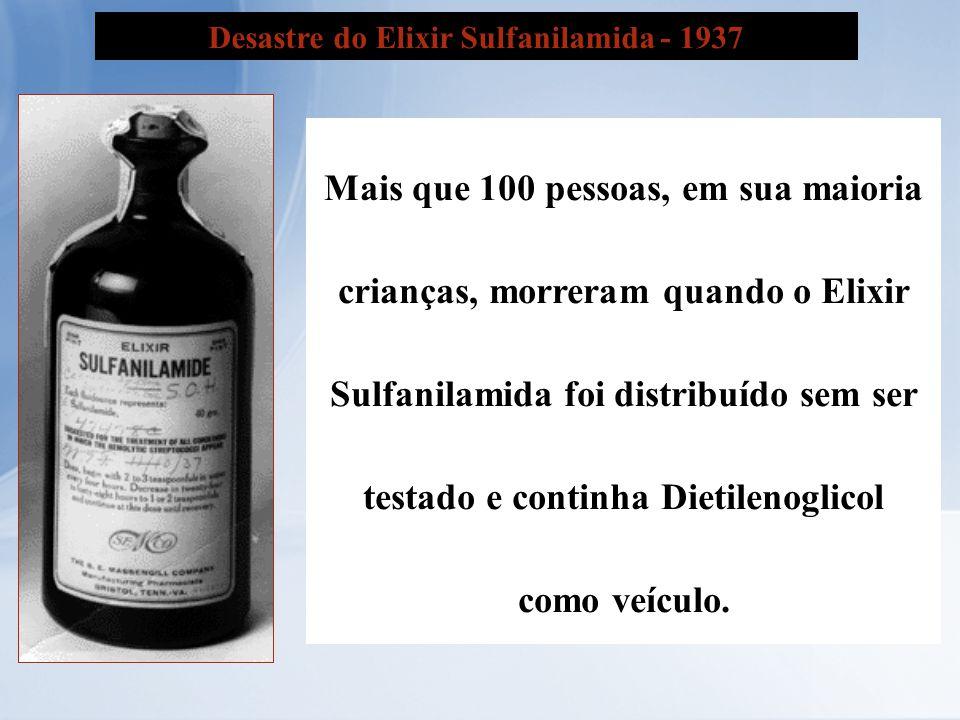 Desastre do Elixir Sulfanilamida - 1937 Mais que 100 pessoas, em sua maioria crianças, morreram quando o Elixir Sulfanilamida foi distribuído sem ser