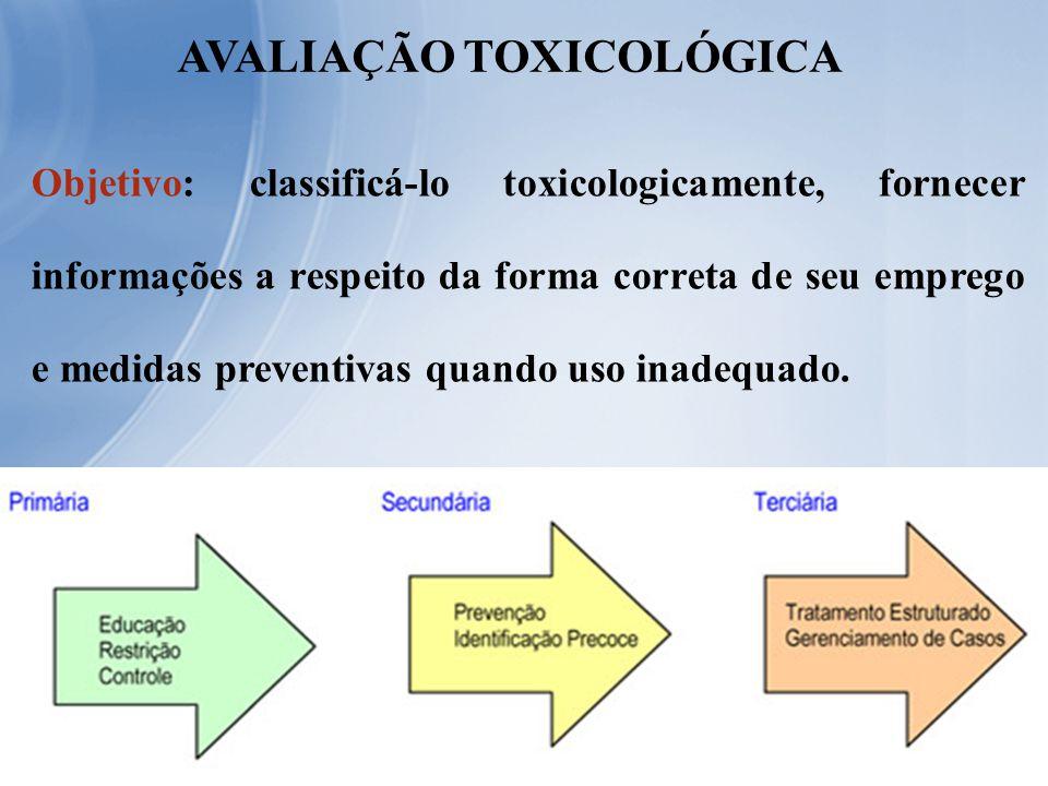Objetivo: classificá-lo toxicologicamente, fornecer informações a respeito da forma correta de seu emprego e medidas preventivas quando uso inadequado