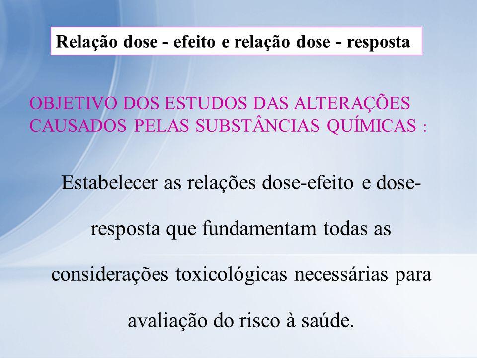 Relação dose - efeito e relação dose - resposta OBJETIVO DOS ESTUDOS DAS ALTERAÇÕES CAUSADOS PELAS SUBSTÂNCIAS QUÍMICAS : Estabelecer as relações dose