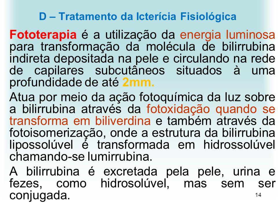 14 D – Tratamento da Icterícia Fisiológica Fototerapia é a utilização da energia luminosa para transformação da molécula de bilirrubina indireta depos