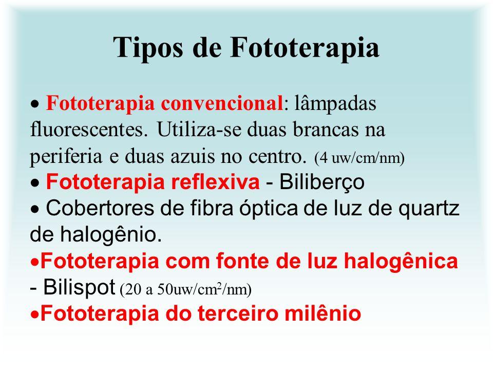 Tipos de Fototerapia Fototerapia convencional: lâmpadas fluorescentes. Utiliza-se duas brancas na periferia e duas azuis no centro. (4 uw/cm/nm) Fotot