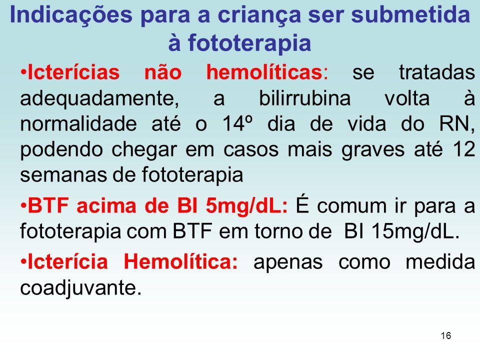 16 Indicações para a criança ser submetida à fototerapia Icterícias não hemolíticas: se tratadas adequadamente, a bilirrubina volta à normalidade até