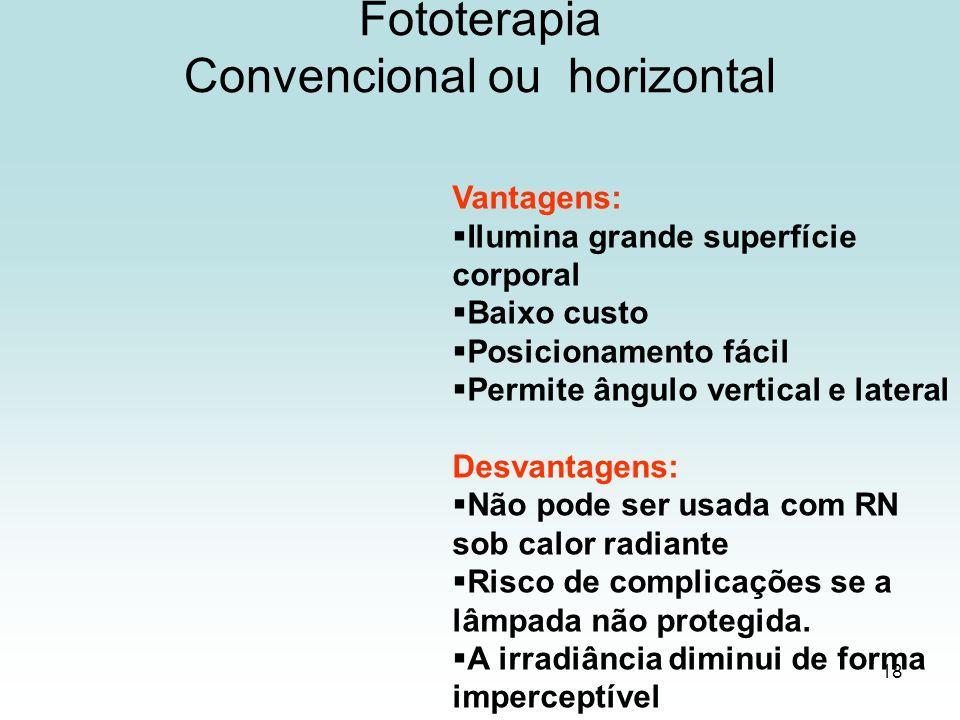 18 Fototerapia Convencional ou horizontal Vantagens: Ilumina grande superfície corporal Baixo custo Posicionamento fácil Permite ângulo vertical e lat