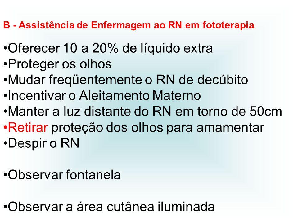 B - Assistência de Enfermagem ao RN em fototerapia Oferecer 10 a 20% de líquido extra Proteger os olhos Mudar freqüentemente o RN de decúbito Incentiv