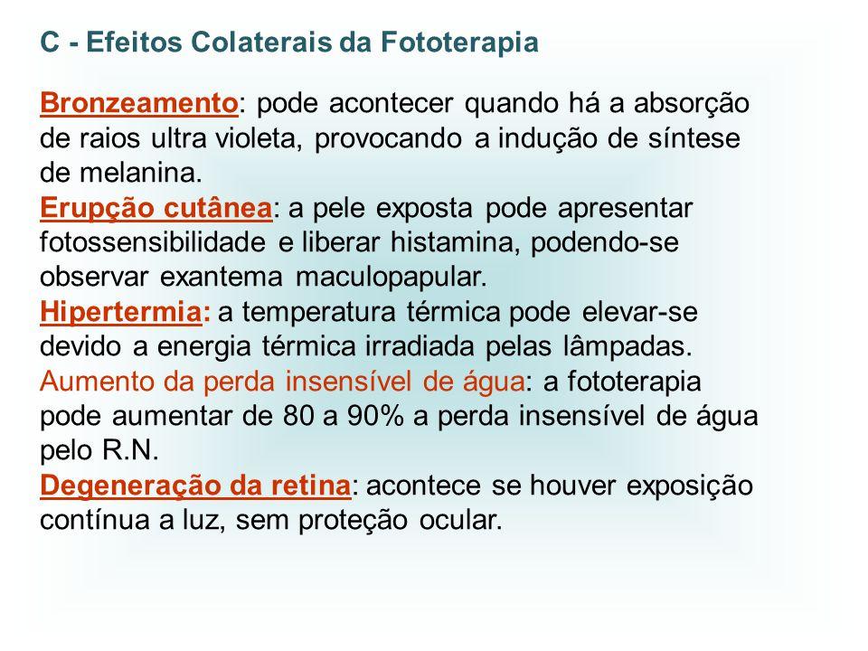 C - Efeitos Colaterais da Fototerapia Bronzeamento: pode acontecer quando há a absorção de raios ultra violeta, provocando a indução de síntese de mel