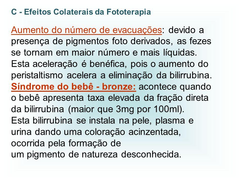 C - Efeitos Colaterais da Fototerapia Aumento do número de evacuações: devido a presença de pigmentos foto derivados, as fezes se tornam em maior núme