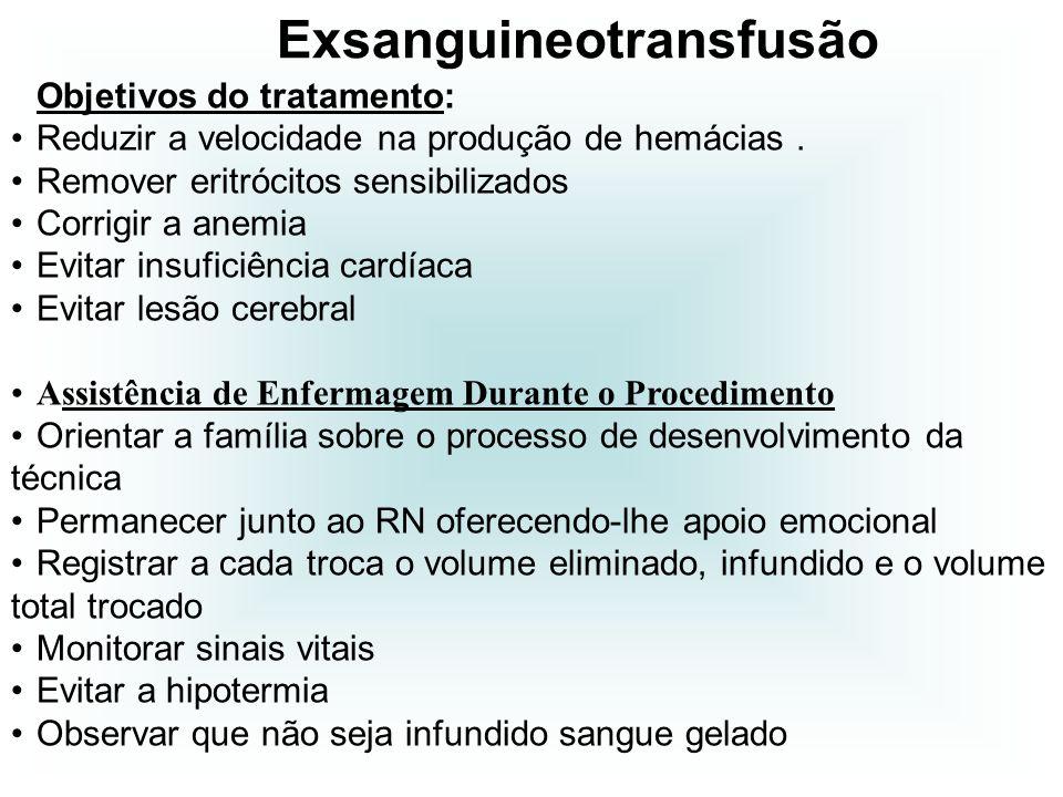Objetivos do tratamento: Reduzir a velocidade na produção de hemácias. Remover eritrócitos sensibilizados Corrigir a anemia Evitar insuficiência cardí