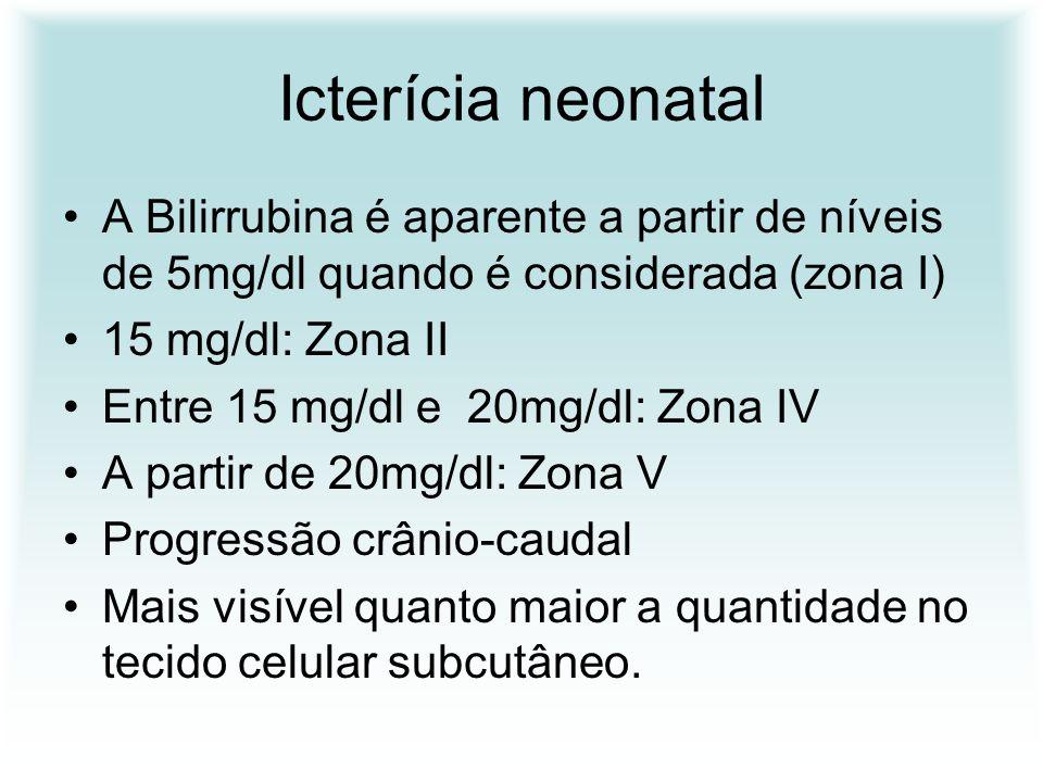 Icterícia neonatal A Bilirrubina é aparente a partir de níveis de 5mg/dl quando é considerada (zona I) 15 mg/dl: Zona II Entre 15 mg/dl e 20mg/dl: Zon