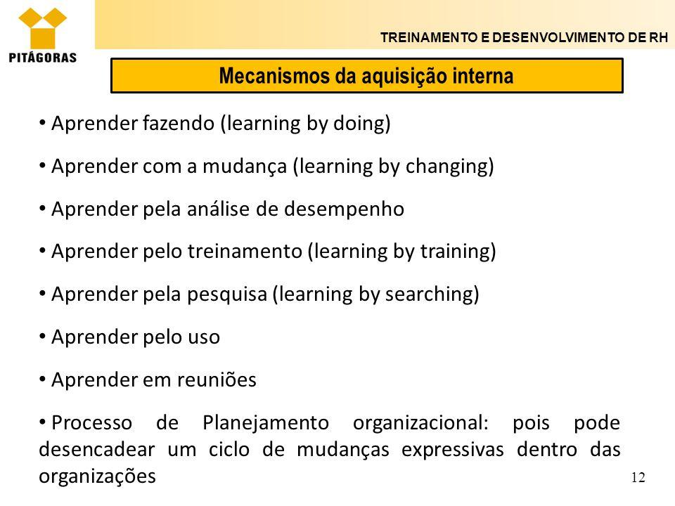 TREINAMENTO E DESENVOLVIMENTO DE RH 12 Mecanismos da aquisição interna Aprender fazendo (learning by doing) Aprender com a mudança (learning by changi