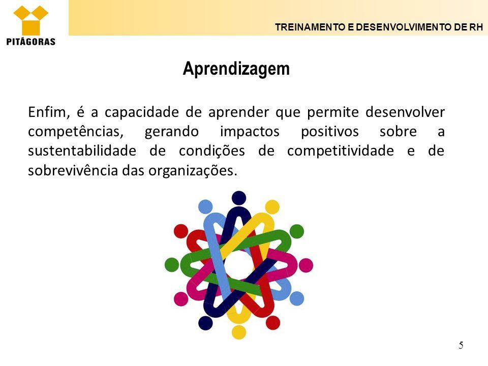 TREINAMENTO E DESENVOLVIMENTO DE RH 16 Processos de conversão do conhecimento organizacional - Socialização e Codificação A aprendizagem de indivíduos nas organizações e sua transformação em aprendizagem organizacional dependem da variedade, do grau de interação e da intensidade de uso das fontes internas e externas de conhecimento, assim como da variedade, intensidade de uso e de interação entre os diferentes mecanismos de socialização e de codificação do que foi aprendido pelos indivíduos nas organizações.