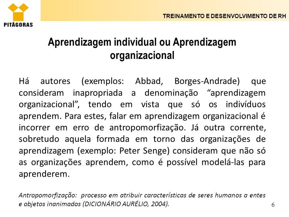 TREINAMENTO E DESENVOLVIMENTO DE RH 7 Aprendizagem individual ou Aprendizagem organizacional Há, todavia, outra corrente que incorpora as relações entre aprendizagem individual e organizacional.