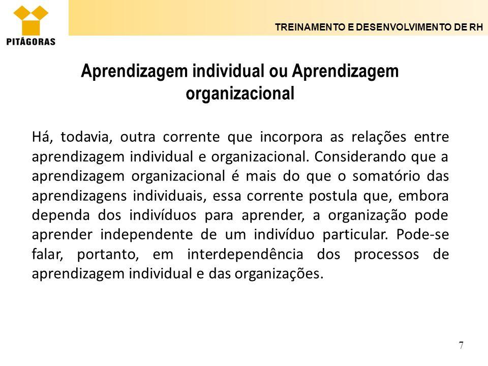 TREINAMENTO E DESENVOLVIMENTO DE RH 7 Aprendizagem individual ou Aprendizagem organizacional Há, todavia, outra corrente que incorpora as relações ent