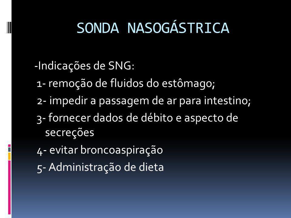 SONDA NASOGÁSTRICA -Indicações de SNG: 1- remoção de fluidos do estômago; 2- impedir a passagem de ar para intestino; 3- fornecer dados de débito e as