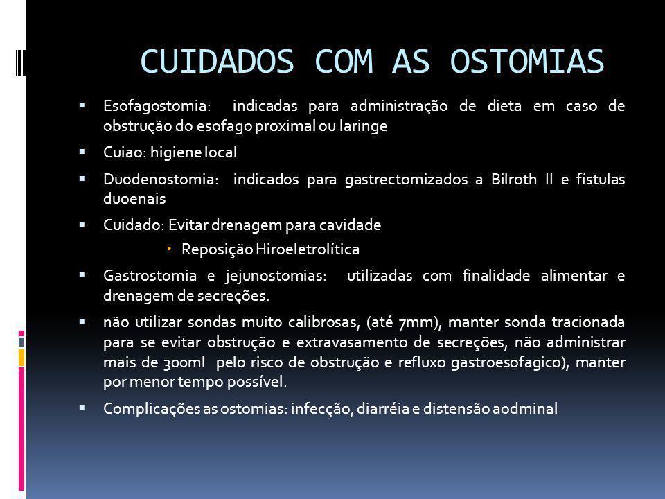CUIDADOS COM AS OSTOMIAS Esofagostomia: indicadas para administração de dieta em caso de obstrução do esofago proximal ou laringe Cuiao: higiene local