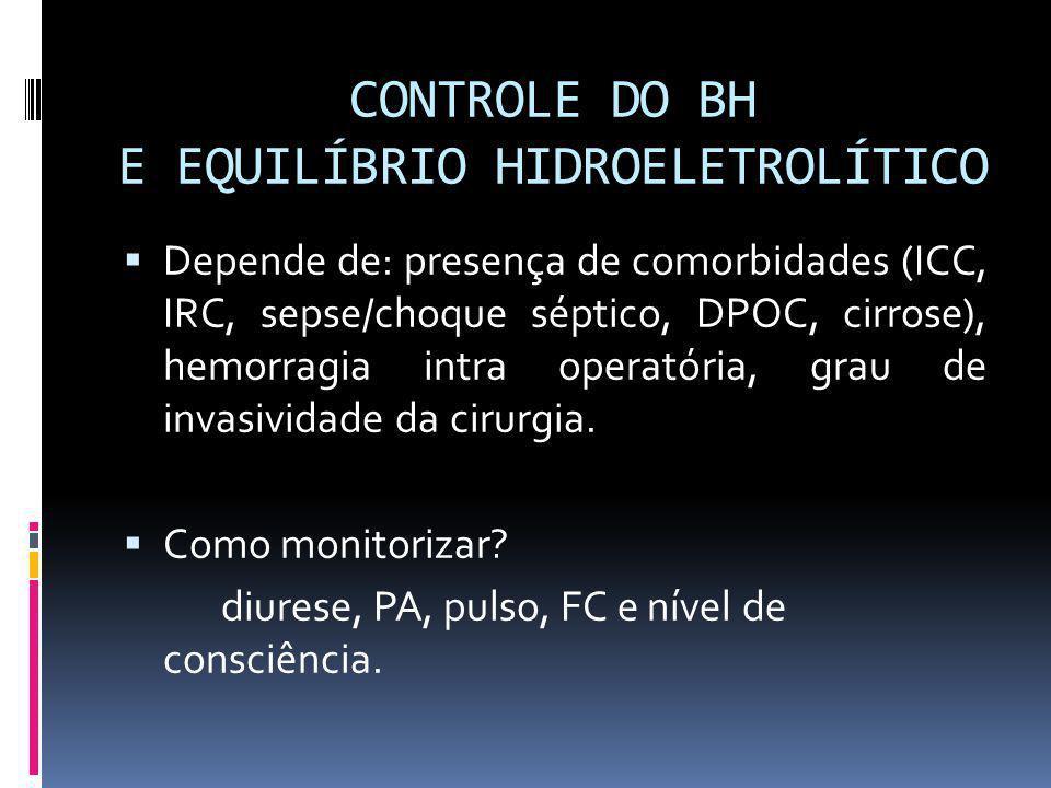 CONTROLE DO BH E EQUILÍBRIO HIDROELETROLÍTICO Depende de: presença de comorbidades (ICC, IRC, sepse/choque séptico, DPOC, cirrose), hemorragia intra o