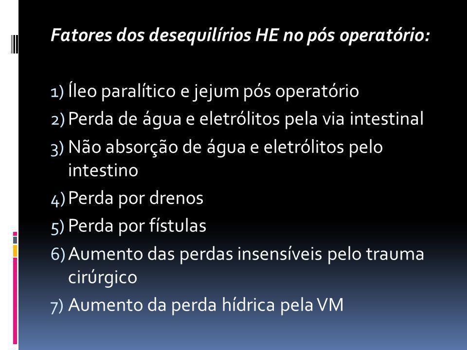Fatores dos desequilírios HE no pós operatório: 1) Íleo paralítico e jejum pós operatório 2) Perda de água e eletrólitos pela via intestinal 3) Não ab