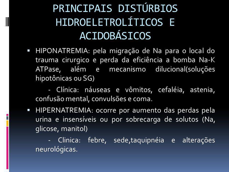 PRINCIPAIS DISTÚRBIOS HIDROELETROLÍTICOS E ACIDOBÁSICOS HIPONATREMIA: pela migração de Na para o local do trauma cirurgico e perda da eficiência a bom