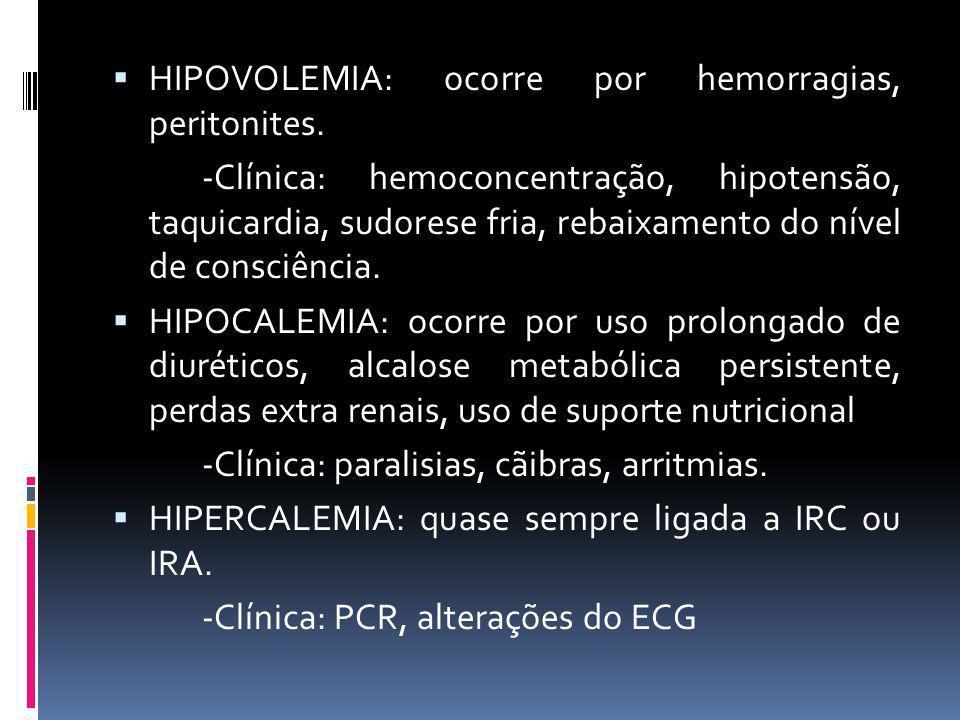 HIPOVOLEMIA: ocorre por hemorragias, peritonites. -Clínica: hemoconcentração, hipotensão, taquicardia, sudorese fria, rebaixamento do nível de consciê