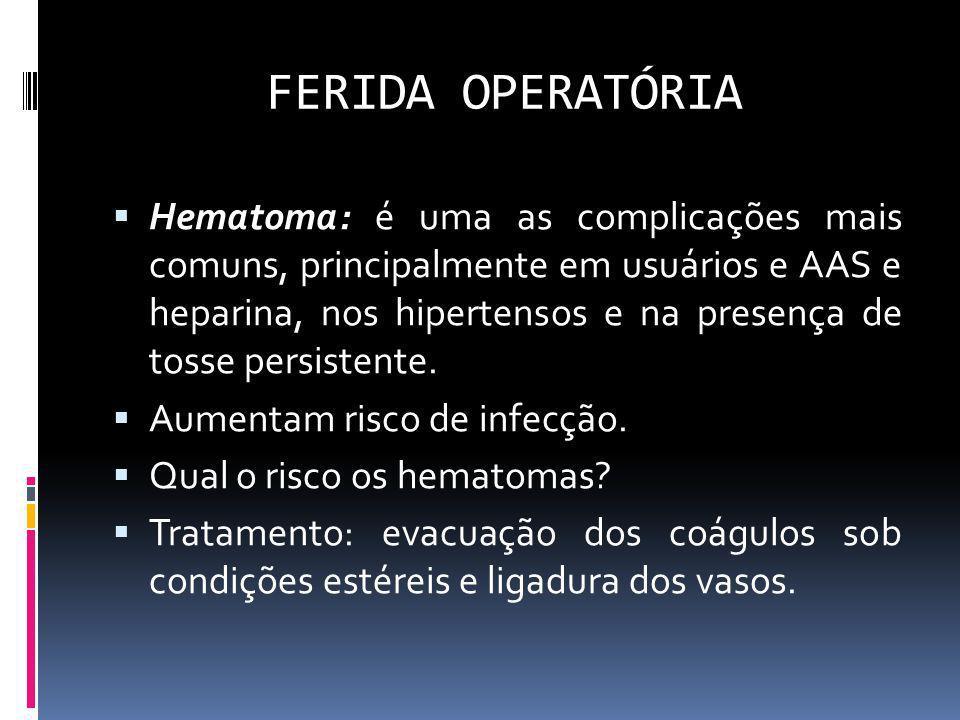 FERIDA OPERATÓRIA Hematoma: é uma as complicações mais comuns, principalmente em usuários e AAS e heparina, nos hipertensos e na presença de tosse per