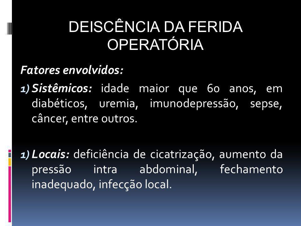 Fatores envolvidos: 1) Sistêmicos: idade maior que 60 anos, em diabéticos, uremia, imunodepressão, sepse, câncer, entre outros. 1) Locais: deficiência