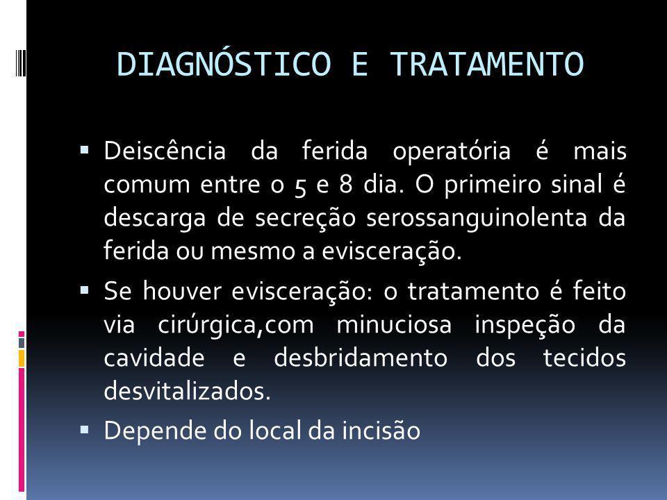 DIAGNÓSTICO E TRATAMENTO Deiscência da ferida operatória é mais comum entre o 5 e 8 dia. O primeiro sinal é descarga de secreção serossanguinolenta da