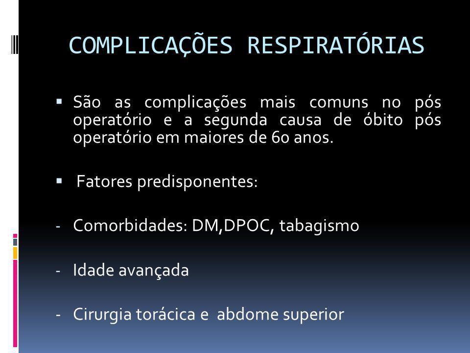 COMPLICAÇÕES RESPIRATÓRIAS São as complicações mais comuns no pós operatório e a segunda causa de óbito pós operatório em maiores de 60 anos. Fatores