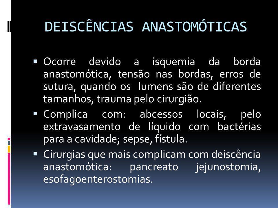 DEISCÊNCIAS ANASTOMÓTICAS Ocorre devido a isquemia da borda anastomótica, tensão nas bordas, erros de sutura, quando os lumens são de diferentes taman