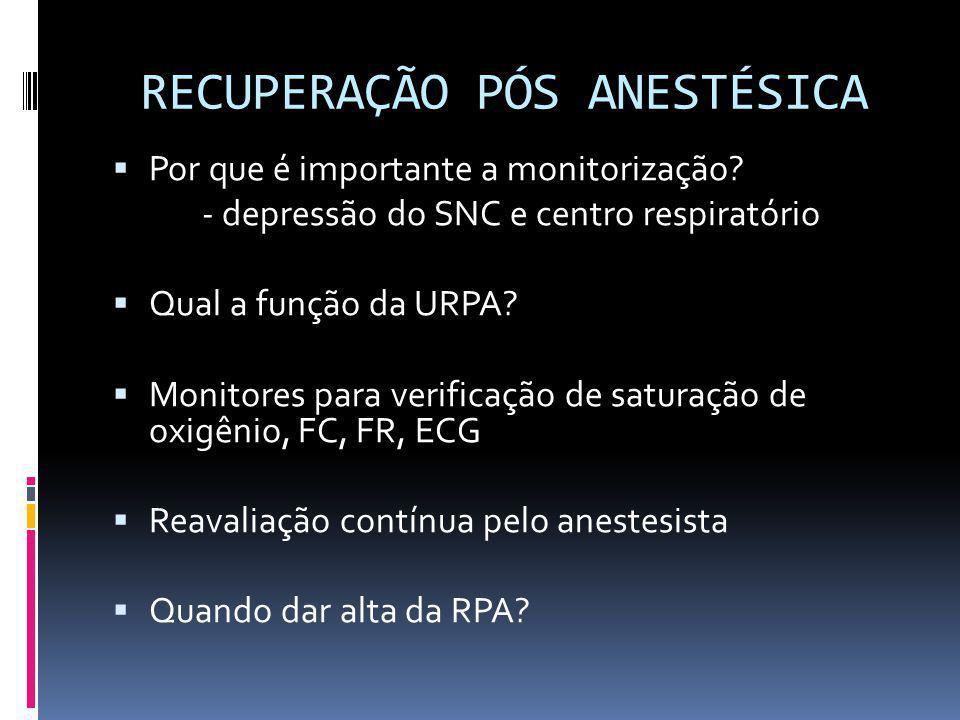 RECUPERAÇÃO PÓS ANESTÉSICA Por que é importante a monitorização? - depressão do SNC e centro respiratório Qual a função da URPA? Monitores para verifi