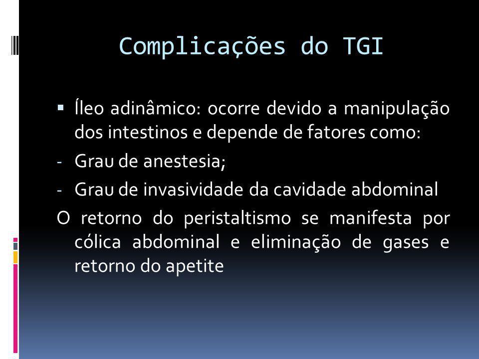 Complicações do TGI Íleo adinâmico: ocorre devido a manipulação dos intestinos e depende de fatores como: - Grau de anestesia; - Grau de invasividade