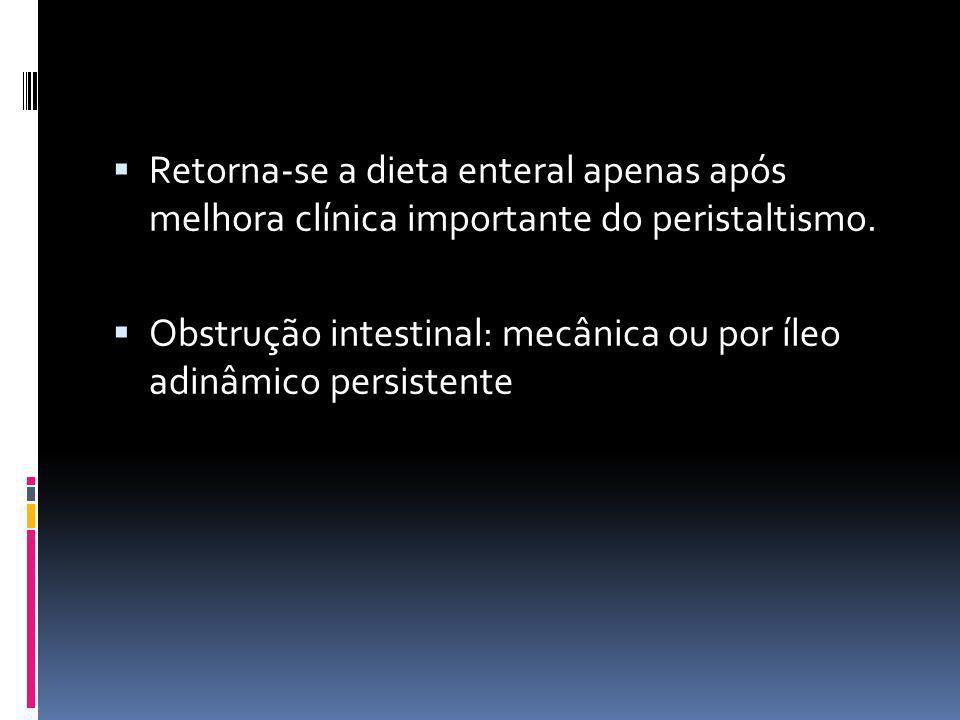 Retorna-se a dieta enteral apenas após melhora clínica importante do peristaltismo. Obstrução intestinal: mecânica ou por íleo adinâmico persistente
