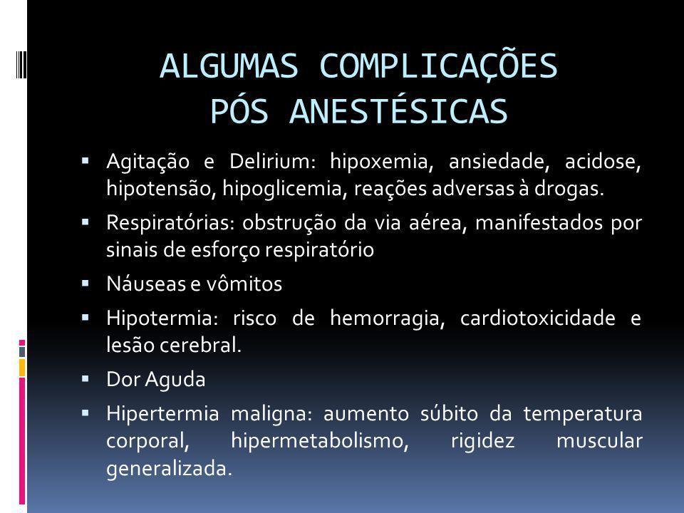 ALGUMAS COMPLICAÇÕES PÓS ANESTÉSICAS Agitação e Delirium: hipoxemia, ansiedade, acidose, hipotensão, hipoglicemia, reações adversas à drogas. Respirat