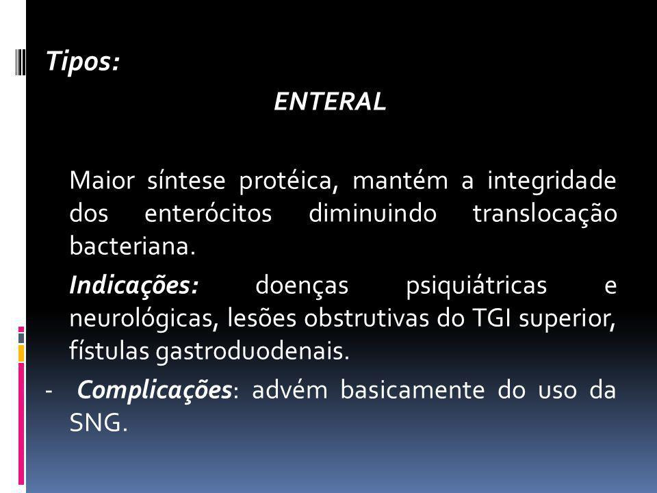 Tipos: ENTERAL Maior síntese protéica, mantém a integridade dos enterócitos diminuindo translocação bacteriana. Indicações: doenças psiquiátricas e ne