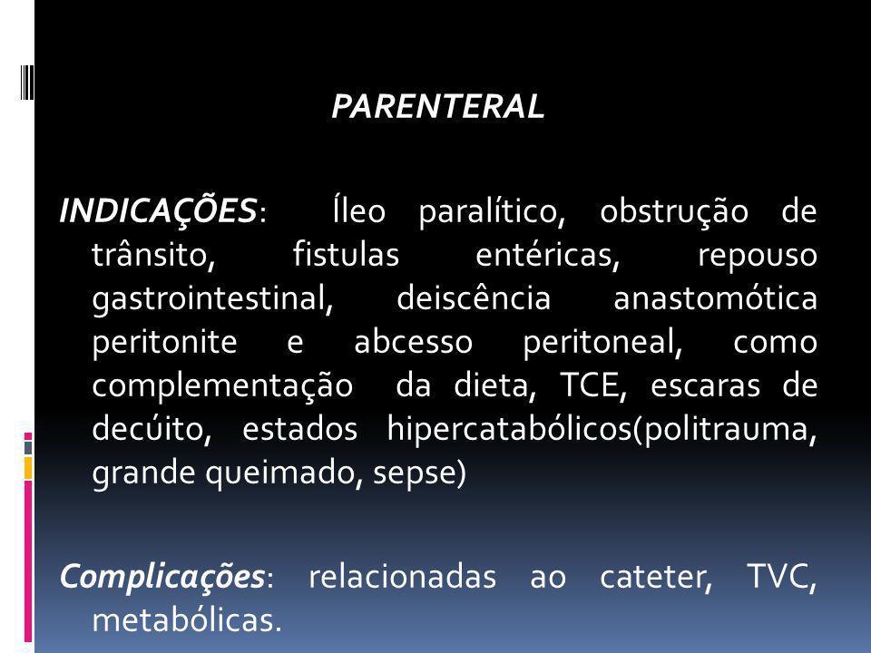 PARENTERAL INDICAÇÕES: Íleo paralítico, obstrução de trânsito, fistulas entéricas, repouso gastrointestinal, deiscência anastomótica peritonite e abce