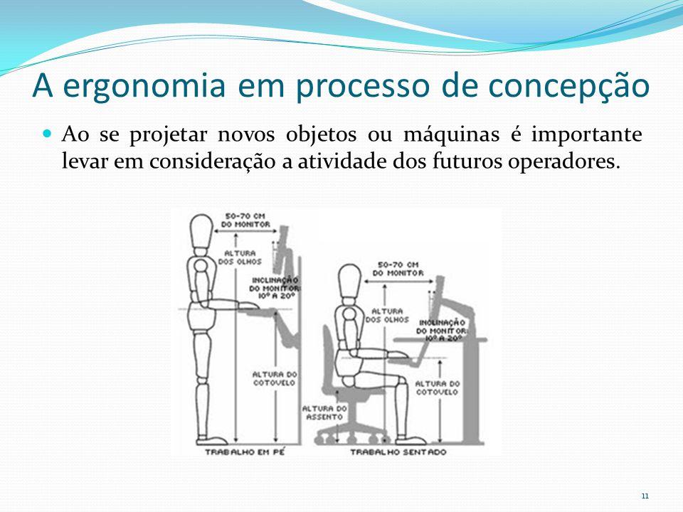 11 A ergonomia em processo de concepção Ao se projetar novos objetos ou máquinas é importante levar em consideração a atividade dos futuros operadores