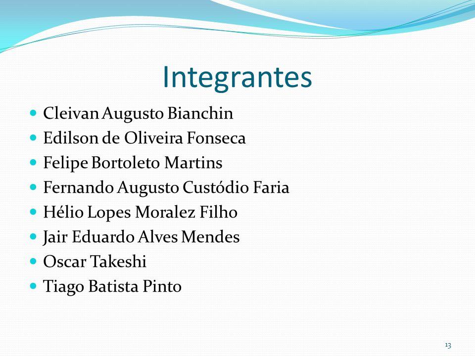 13 Integrantes Cleivan Augusto Bianchin Edilson de Oliveira Fonseca Felipe Bortoleto Martins Fernando Augusto Custódio Faria Hélio Lopes Moralez Filho