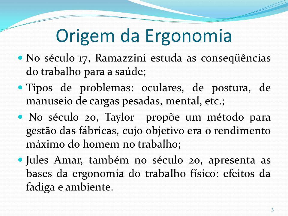 3 Origem da Ergonomia No século 17, Ramazzini estuda as conseqüências do trabalho para a saúde; Tipos de problemas: oculares, de postura, de manuseio